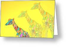 Giraffe X 3 - Yellow - The Card Greeting Card