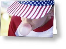 Girl American Baseball Cap Greeting Card