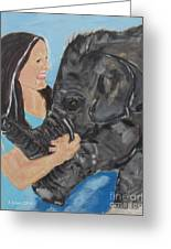 Girl And Baby Elephant Greeting Card