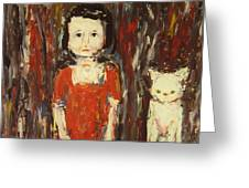 Girl And Cat Greeting Card