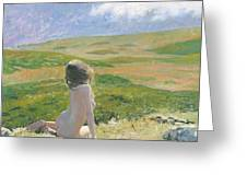 Girl And Cloud Greeting Card