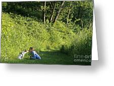 Girl And Dog On Trail Greeting Card