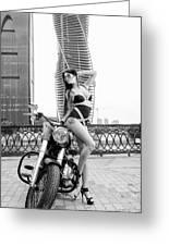 Girl And Harley-davidson Greeting Card