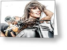 Girl And Harley Greeting Card