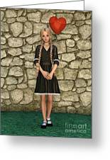 Girl And Heart Greeting Card