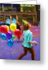 Girl And Her Balloons Greeting Card