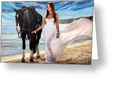 Girl And Horse On Beach Greeting Card