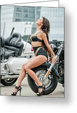 Girl And Motorcycles Greeting Card