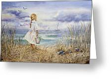 Girl At The Ocean Greeting Card