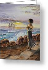 Girl And The Ocean Sailing Ship Greeting Card