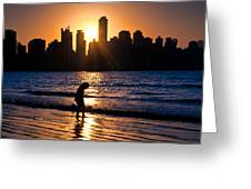 Girl And The Sunset Greeting Card
