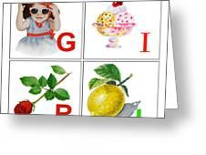 Girl Art Alphabet For Kids Room Greeting Card