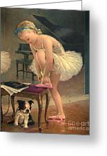 Girl Ballet Dancer Ties Her Slipper With Boston Terrier Dog Greeting Card