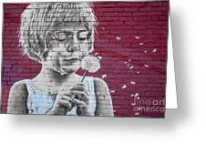 Girl Blowing A Dandelion Greeting Card