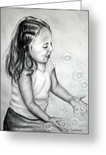 Girl Blowing Bubbles II Greeting Card