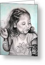 Girl Blowing Bubbles Greeting Card