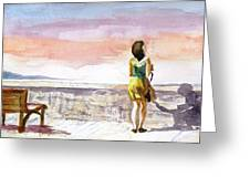 Girl Enjoying The View Greeting Card
