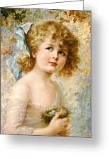 Girl Holding A Nest Greeting Card
