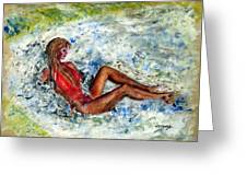 Girl In A Red Swimsuit Greeting Card