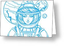 Girl In A Spacesuit For T-shirt Design Greeting Card