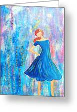 Girl In Blue Dress Greeting Card