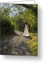 Girl In Country Lane Greeting Card