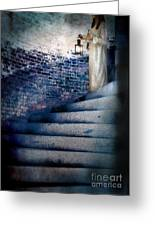 Girl In Nightgown On Circular Stone Steps Greeting Card