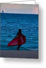 Girl In Red Float Greeting Card