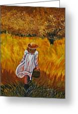 Girl In The Meadow Greeting Card