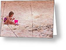 Girl In The Sand Greeting Card