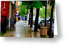 Girl In The Yellow Raincoat Rainy Stroll Through Streets Of The City Montreal Scenes Carole  Greeting Card