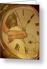 Girl In White Dress In Pocket Watch Greeting Card