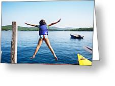 Girl Jumps In The Lake Greeting Card