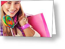 Girl Lick Sweets And Holding Pink Bag Greeting Card