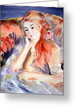 Girl Lounging  After Renoir Greeting Card