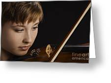 Girl Musician And Violin Or Viola Photograph Color 3361.02 Greeting Card