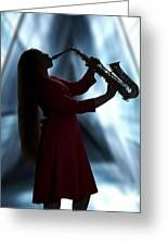 Girl Musician Playing Saxophone In Silhouette Color 3353.02 Greeting Card