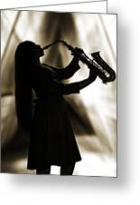 Girl Musician Playing Saxophone In Silhouette Sepia 3353.01 Greeting Card