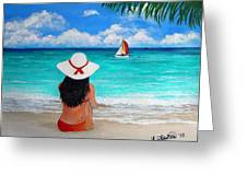 Girl On A Turquoise Beach Greeting Card