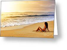 Girl On Seashore  Greeting Card