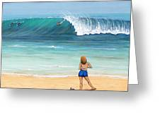 Girl On Surfer Beach Greeting Card