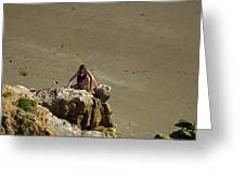 Girl On The Rocks - Compton Bay Greeting Card