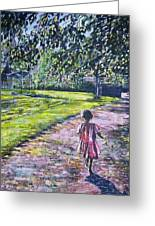 Girl On Trail Greeting Card by Linda Vaughon