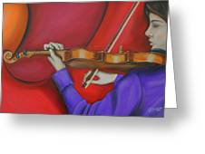 Girl On Violin Greeting Card