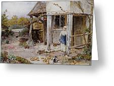 Girl Outside A Cottage Greeting Card
