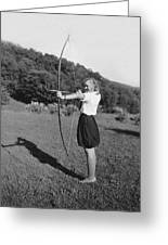 Girl Scout With Bow And Arrow Greeting Card