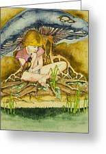 Girl Under Mushroom Greeting Card