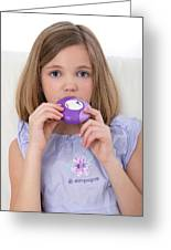 Girl Using Asthma Medication Greeting Card