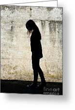 Girl Walking In Front Of Cement Wall Greeting Card
