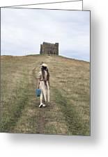 Girl Walks To A Chapel Greeting Card